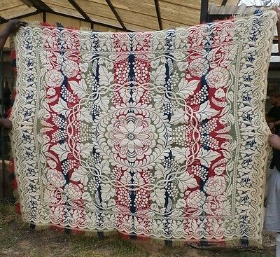 Signed Nb Ture 100% Guarantee Antique Jacquard Wool Woven American 3 Color Coverlet Mid1800's Ohio Linens & Textiles (pre-1930) Bed & Bath Linens
