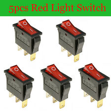 5X ON/OFF Rectangle Red Light Rocker Switch + Waterproof Cover Car Dashboard