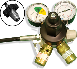 Mixed Gas Primary Gas Bottle Regulator with 2 Gauges Beer Lager Keg Wall Mount
