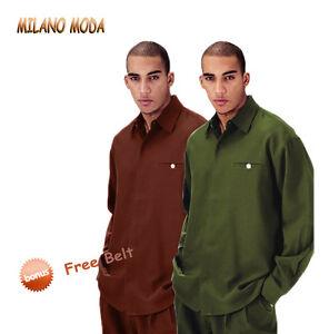 Milano-Moda-Fortino-Landi-Men-039-s-Luxurious-Walking-Suit-2-Piece-Set-w-Belt-L2612B