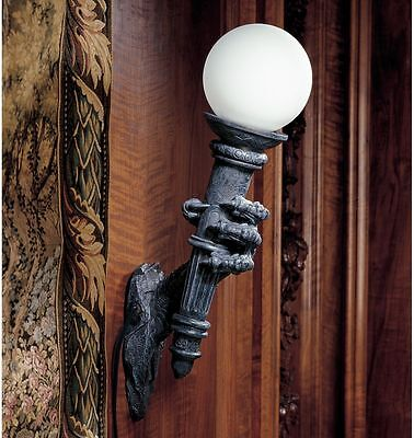 Gothic Dragon Talon Torchiere Globe Lamp Medieval Electric Wall Torch