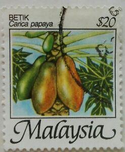 Malaysia Used Stamp - 1986 $20 Fruits Definitive Stamp - Betis / Papaya