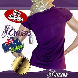 Curves-For-Women-purple-shirt-top-gathered-sleeve