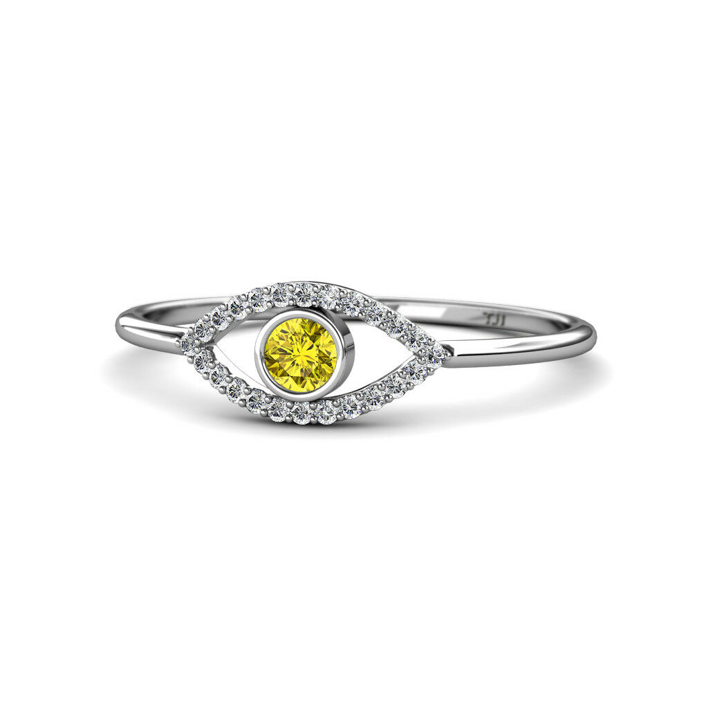 Round Yellow and White Diamond Evil Eye Promise Ring 0.33 ctw 14K gold JP 165072