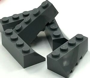 Lego-5-New-Dark-Bluish-Gray-Wedge-4-x-2-Sloped-Right-Pieces