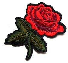 Rose Wild Flower Leaf Embroidered Iron Sew On Patch Peace Hippie Love red