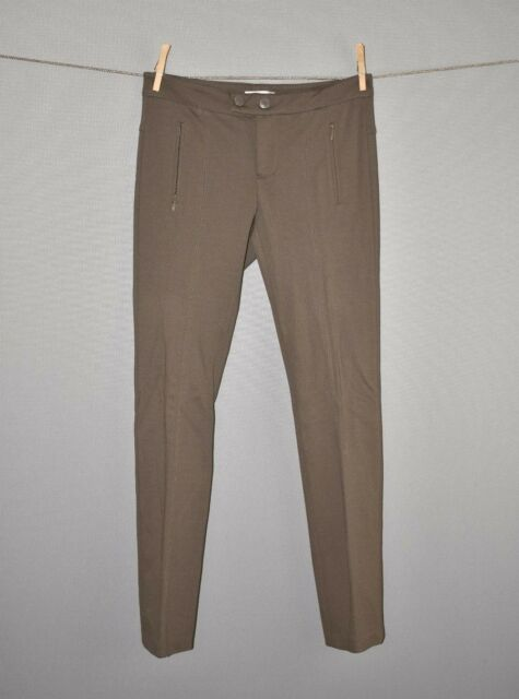 VINCE $285 Brown Ponte Knit Skinny Legging Pant Faux Zip Pockets Size 2