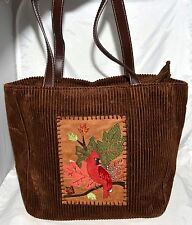 Cappelli Straworld Inc Dark Brown Cotton Corduroy Tote Bag w/ Cardinal on Branch