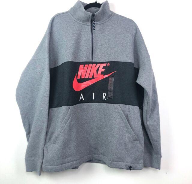 Nike Air Half Zip Fleece Sweatshirt Grey Black Red AV3019 091 Men's L XXL
