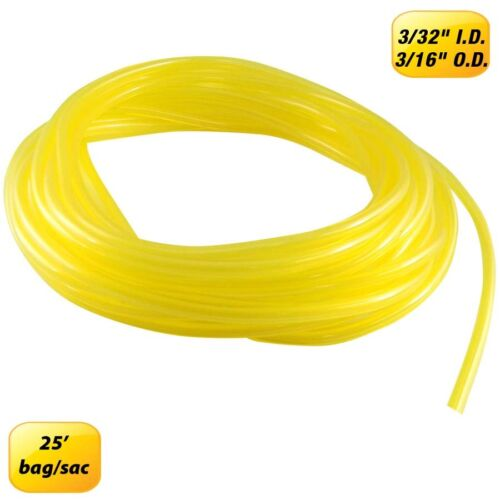 """Fuel Line 3//32/"""" ID x 3//16/"""" OD Yellow 25/' For chainsaws and snow blower"""