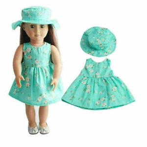 Mode-Urlaub-Puppe-Sommer-Blau-Rock-Kleid-Hut-fuer-18-Zoll-Puppe-Spielzeug-Q1R5