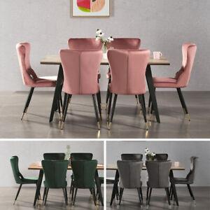 Détails sur Luxe Rocco Table Salle à Manger 4 New York Velours Chaises Cuisine Maison Meuble