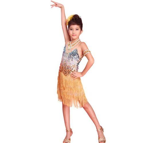Kids Girls Sequined Dance Dress Ballroom Latin Salsa Tasseled Dancewear Costume