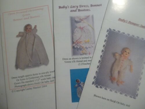 SET 3 fits 2 inch doll Knitting Patterns for 1:12 scale dollhouse baby doll