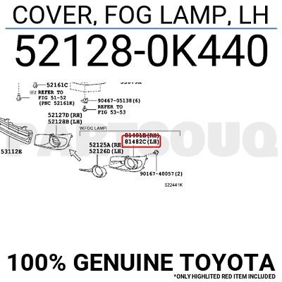 Genuine Toyota 11-18 Sienna Drivers LH Fog Lamp Hole Cover//Filler 52128-08020