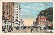 Indiana In Postcard 1924 SOUTH BEND Washington Street Looking East Trolley Store