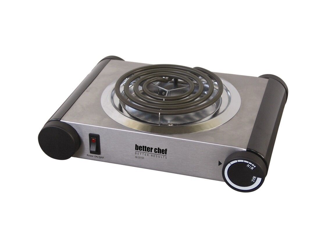 Better Chef 1000W Stainless Steel  Electric Single Burner Hot Plate Buffet Range
