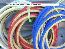 """Two Tires 24x1.75 BMX 24"""" inch Red White Blue BLACK GUM WALL Comp 3 design"""