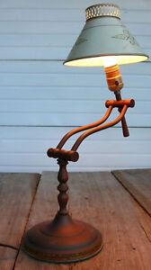 Desk-Table-MCM-LAMP-Western-Steam-Brass-Tole-Arm-Adjust-Light-Vintage-Old-Estate