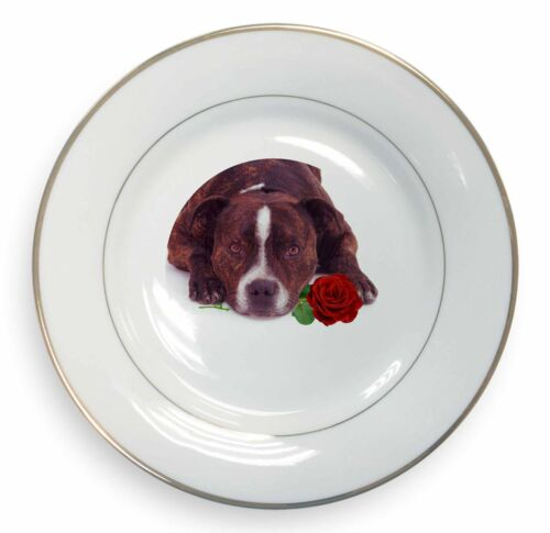 Brindle Staffie with Rose Gold Rim Plate in Gift Box Christmas Prese, ADSBT2RPL