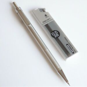 DELI-713-Lightweight-2B-Mechanical-Pencil-Silver-Steel-Effect-0-5mm-20x-Leads