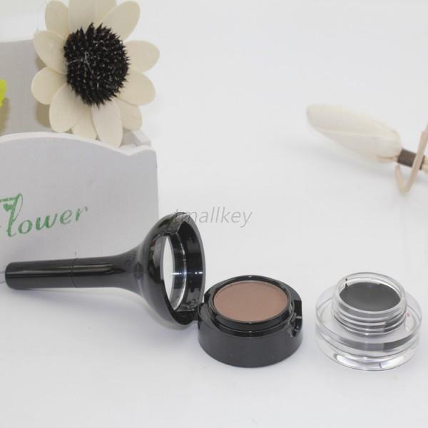 Makeup Kit 2in1 Brown Waterproof Eyeliner Gel & Eyebrow Powder with Brush T31