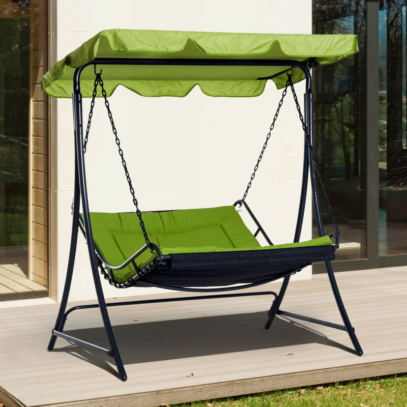 Awesome Details About Garden Outdoor Hammock Swing Chair Bed Seat Adjustable Canopy Cushion Green New Uwap Interior Chair Design Uwaporg