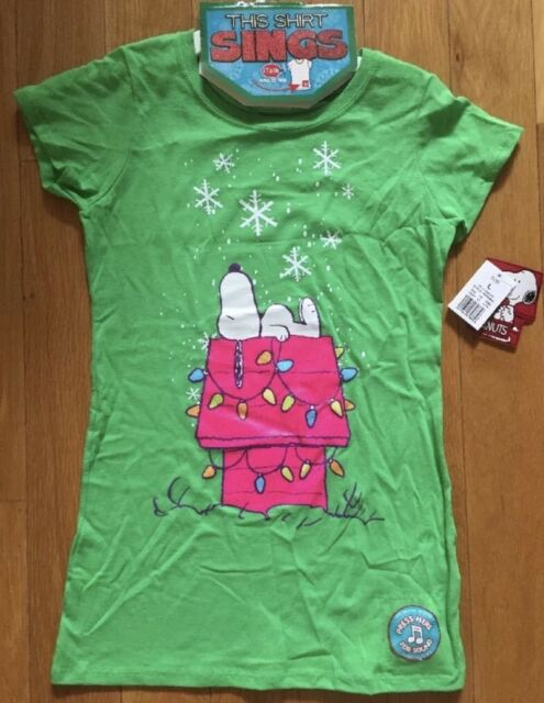 a77b5798 NWT Peanuts snoopy Dog House singing Christmas Green shirt girls top XS M  Sings