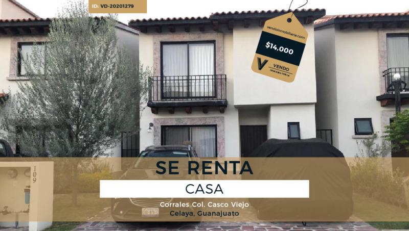 Renta de Casa 3 Recamaras Colonia Casco Viejo Celaya Guanajuato.