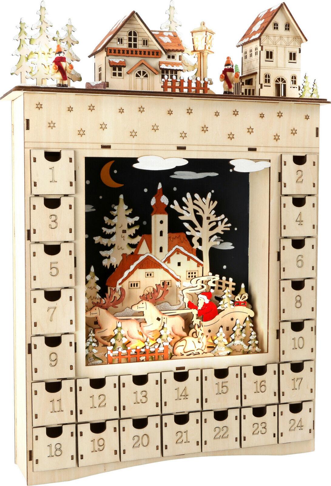 Adventskalender Holz mit Beleuchtung mit vielen Details