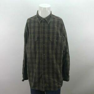 Mens-Timberland-Weathergear-XL-Green-Plaid-Long-Sleeve-Button-Up-Shirt