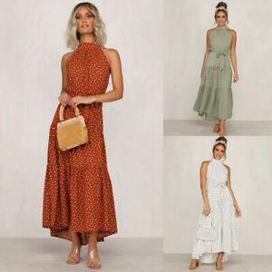 Women-Halter-Neck-Sleeveless-Maxi-Dress-Ladies-Summer-Casual-Boho-Swing-Dress
