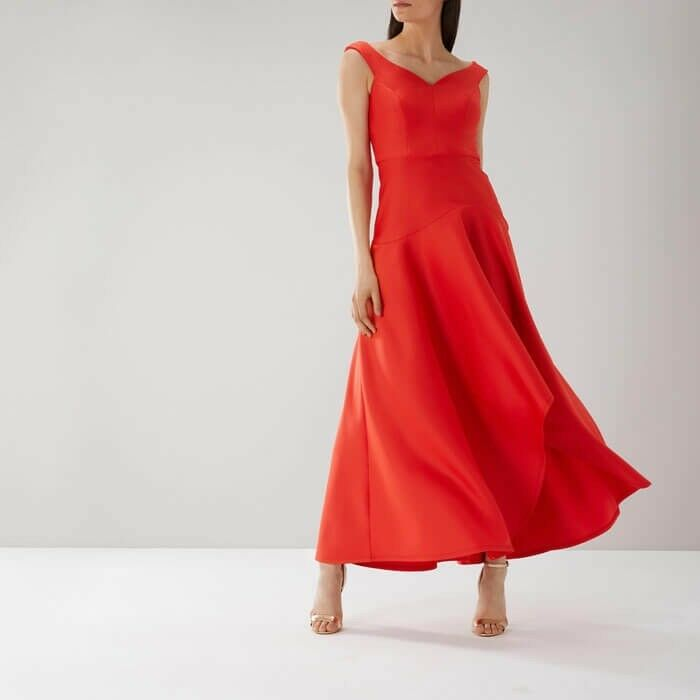 COAST BELLE SEAM DETAIL MAXI DRESS RED Size 8