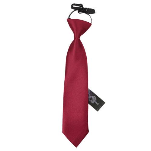 Burgundy Boys Elasticated Tie Satin Plain Solid Pre-Tied Necktie by DQT