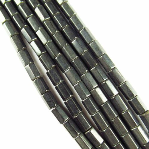 6x4mm Faceted Black Hematite Column Pendant Loose Bead 15.5 inch 23g A-473TS