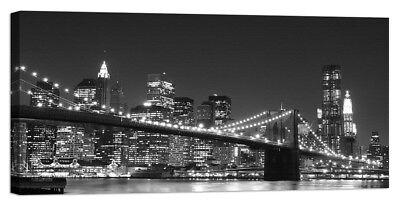 Stampa su Tela Vernice Effetto Pennellate NEW YORK PONTE DI BROOKLYN