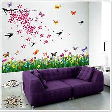 Pegatinas de pared Mural homedecal Arte Flores árbol Mariposas Infantil Niños Niño Niña