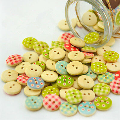 100 Pcs Mixed 2 Holes Round Wood Wooden Buttons Sewing Scrapbooking 15mm DIY New