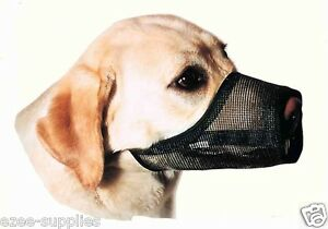 Dog-Muzzle-Breathable-Adjustable-4-Sizes-Stop-Biting-Barking-Nipping-Chewing