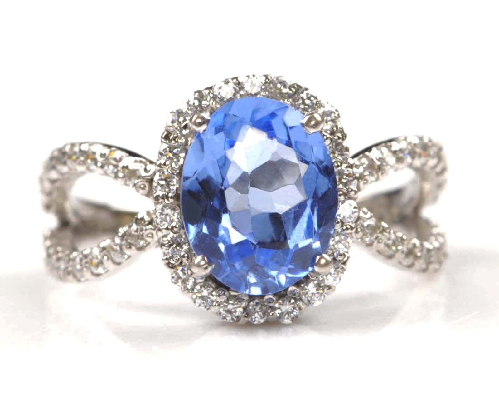2.50 Carat 14KT Solid White gold Natural bluee Topaz IGI Certified Diamond Ring