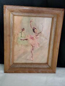 Ballerina Sketch Taking Lessons Vintage 8x10 Wood Frame