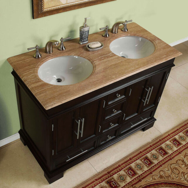 48 Inch Compact Double Sink Travertine Stone Top Bathroom Vanity Cabinet 0224tr