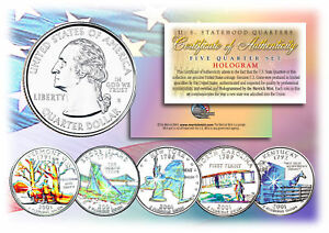 2001-US-Statehood-Quarters-HOLOGRAM-5-Coin-Complete-Set-w-Capsules-amp-COA