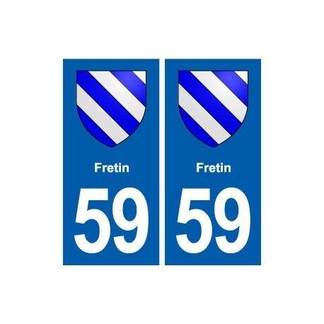 59 Fretin blason autocollant plaque stickers ville -  Angles : droits