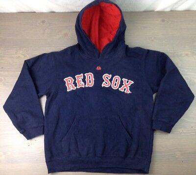 Boston Red Sox Hoodie 10/12 Youth Majestic MLB Kangaroo Pckt Sweatshirt Nvy Blue
