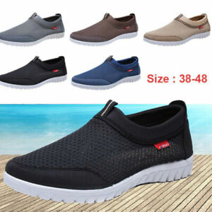 Fashion-Men-039-s-Breathable-Mesh-Shoes-Casual-Slip-On-Loafers-Walking-Flat-Sneakers