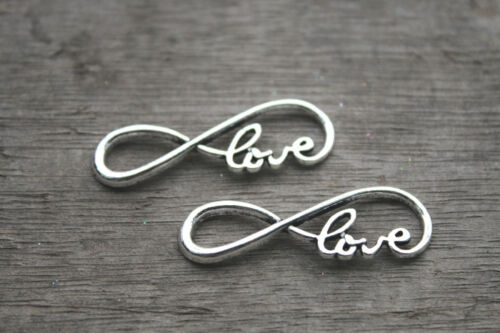 """15pcs Infinity love Charms Silver tone letter /""""8/"""" Infinity love pendant 13x38mm"""