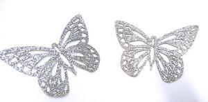 2-x-PAPILLON-couleur-TITANE-glitter-Patch-thermocollant-hotfix-silver-7-cm
