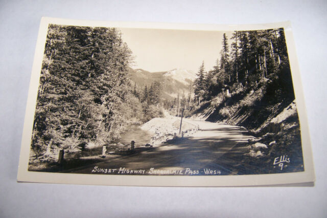 Rare Vintage RPPC Real Photo Postcard 1930-1950 Snoqualmie  Washington Sunset