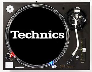 TECHNICS-CLASSIC-WHITE-ON-BLACK-DJ-SLIPMAT-1200-039-s-or-any-turntable-record